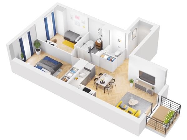 Duninów Residence - rzut 3d mieszkania 030